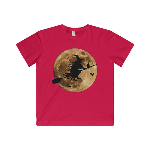 Halloween Moon Witch Youth Fine Jersey Tee