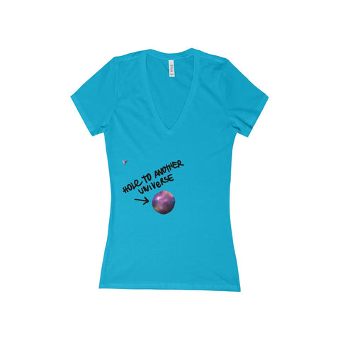 Hole To Another Universe Women's Deep V-Neck Jersey Tee