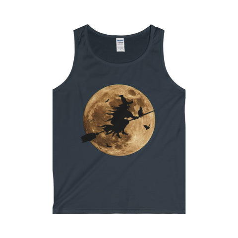 Halloween Moon Witch Adult Tank Top