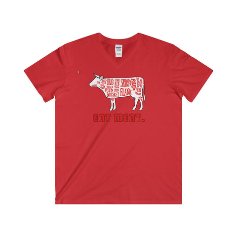 Eat Meat Softstyle® Adult V-Neck T-Shirt