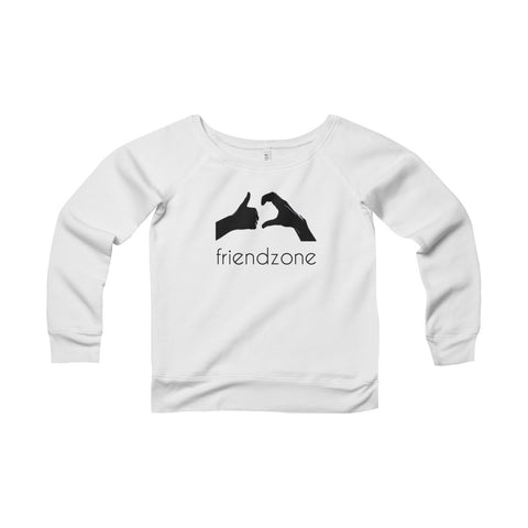 Friendzone Black Women's Sponge Fleece Wide Neck Sweatshirt