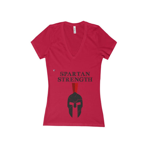 Spartan Strength Black Gym Women's Deep V-Neck Jersey Tee