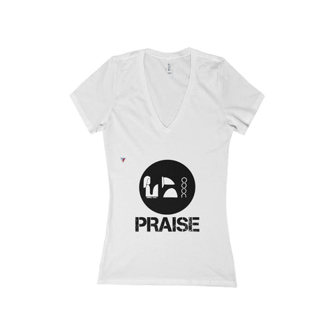 Praise Kek Black Women's Deep V-Neck Jersey Tee