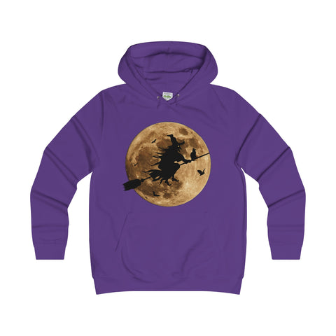 Halloween Moon Witch Girlie College Hoodie