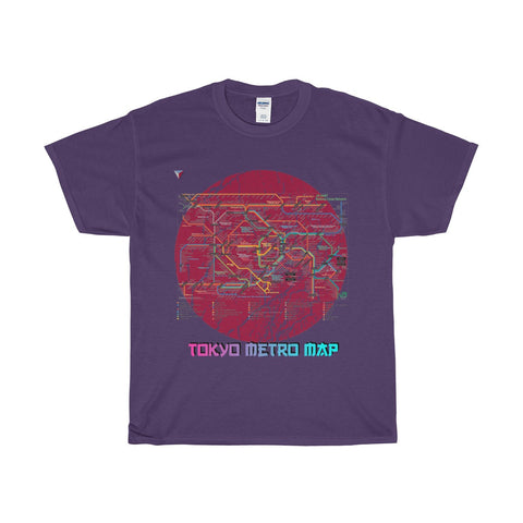 Japanese Metro Map Heavy Cotton T-Shirt