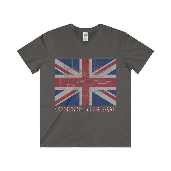 London Tube Map Softstyle® Adult V-Neck T-Shirt