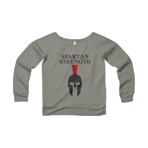 Spartan Strength Black Gym Women's Sponge Fleece Wide Neck Sweatshirt