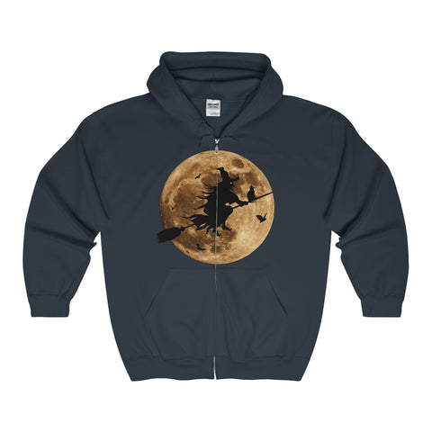 Halloween Moon Witch Adult Full Zip Hooded Sweatshirt