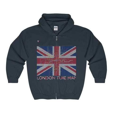 London Tube Map Full Zip Hooded Sweatshirt