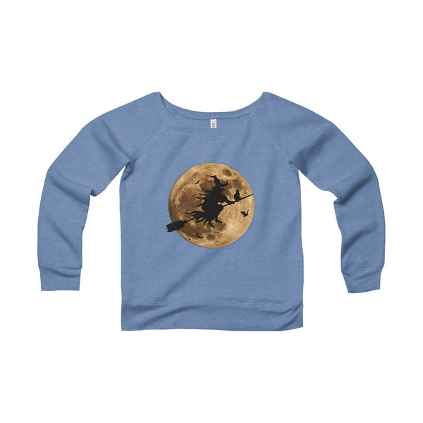 Halloween Moon Witch Women's Sponge Fleece Wide Neck Sweatshirt