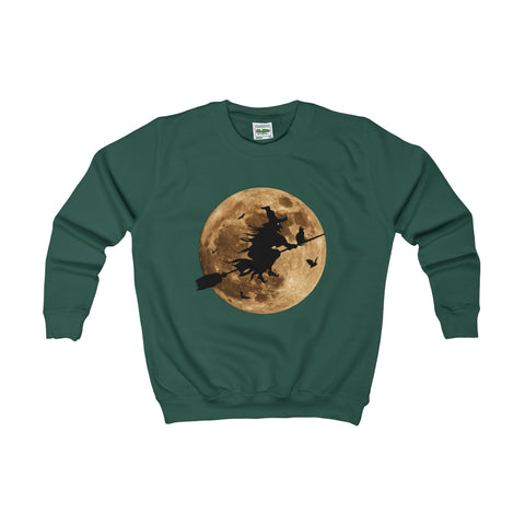 Halloween Moon Witch Kids AWDis Sweat