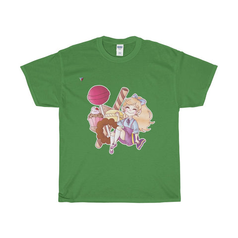 Cute Girl With Sweets Heavy Cotton T-Shirt