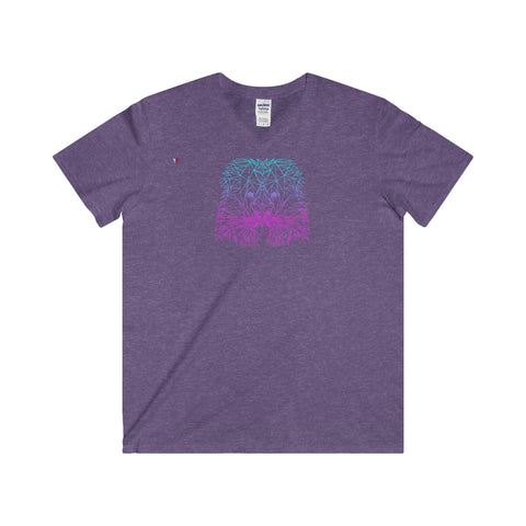 Lion Polygon Neon - Softstyle® Adult V-Neck T-Shirt