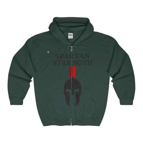 Spartan Strength Black Gym Full Zip Hooded Sweatshirt