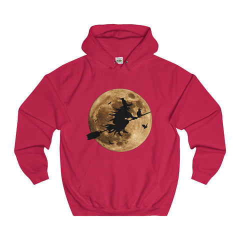Halloween Moon Witch College Hoodie