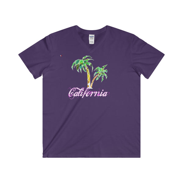 California Palm Tree - Softstyle® Adult V-Neck T-Shirt