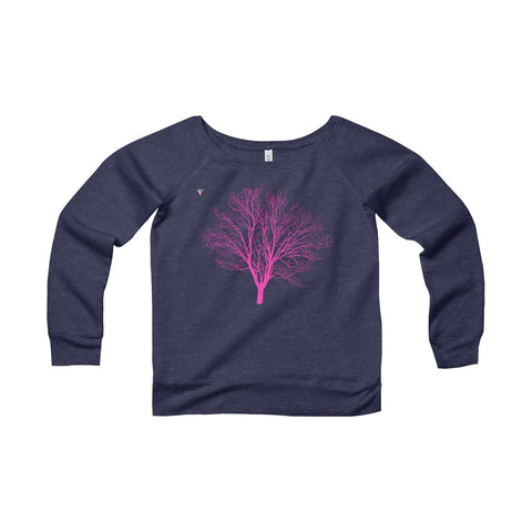 Pink Tree Women's Sponge Fleece Wide Neck Sweatshirt