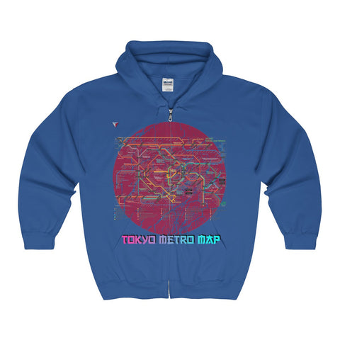 Japanese Metro Map Full Zip Hooded Sweatshirt