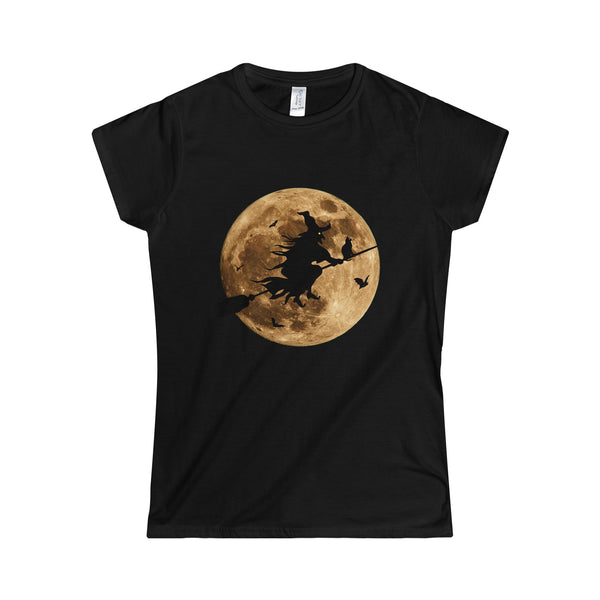 Halloween Moon Witch Softstyle Women's T-Shirt