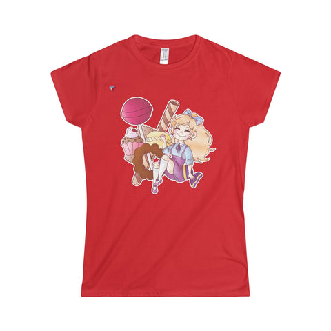 Cute Girl With Sweets Softstyle Women's T-Shirt