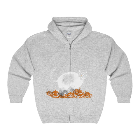 Halloween Pumpkin Cat Adult Full Zip Hooded Sweatshirt