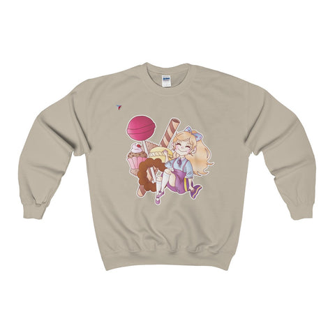 Cute Girl With Sweets Heavy Blend™ Adult Crewneck Sweatshirt
