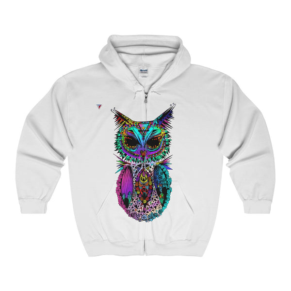 Mandala Owl Full Zip Hooded Sweatshirt