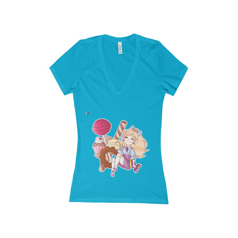 Cute Girl With Sweets Women's Deep V-Neck Jersey Tee