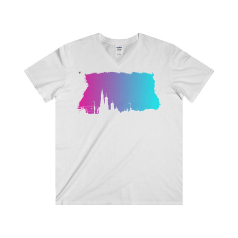 Neon Skyline Softstyle® Adult V-Neck T-Shirt