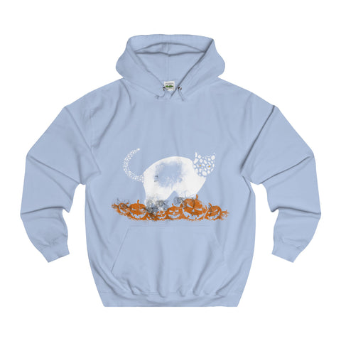 Halloween Pumpkin Cat College Hoodie