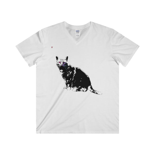 Black Cat Softstyle® Adult V-Neck T-Shirt