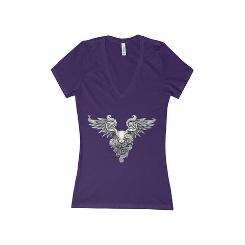 Winged Skull Women's Deep V-Neck Jersey Tee