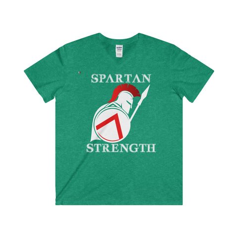 Spartan Strength White - Softstyle® Adult V-Neck T-Shirt