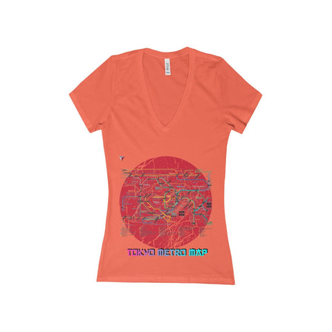 Japanese Metro Map Women's Deep V-Neck Jersey Tee