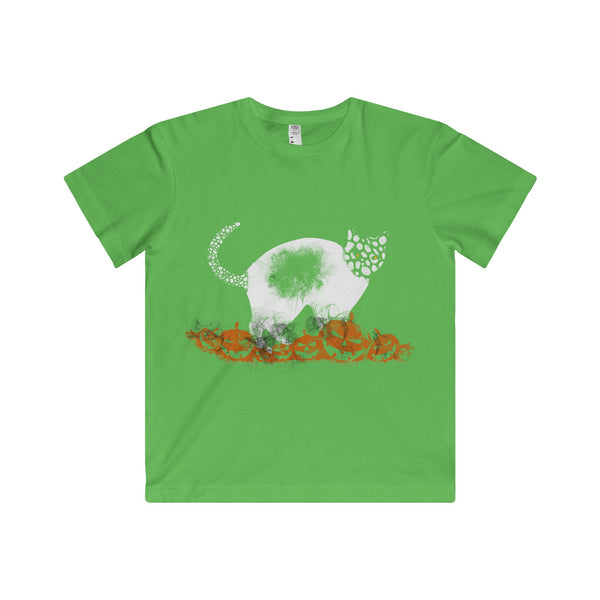 Halloween Pumpkin Cat Youth Fine Jersey Tee