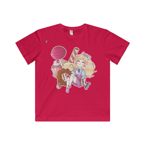 Cute Girl With Sweets Youth Fine Jersey Tee