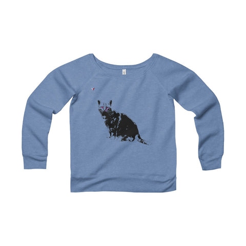 Black Cat Women's Sponge Fleece Wide Neck Sweatshirt