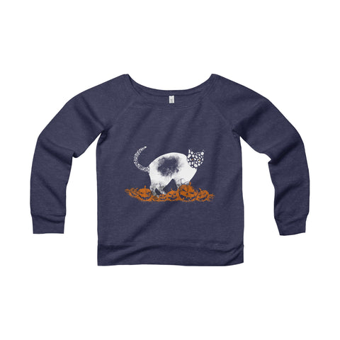 Halloween Pumpkin Cat Women's Sponge Fleece Wide Neck Sweatshirt
