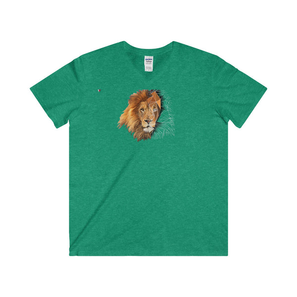 Lion Polygon - Softstyle® Adult V-Neck T-Shirt