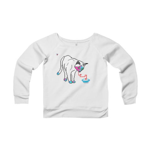 Pixel Cat Women's Sponge Fleece Wide Neck Sweatshirt