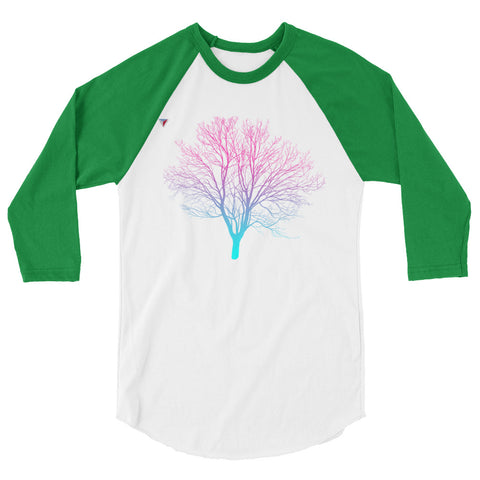 Cyan/Magenta Tree 3/4 sleeve raglan shirt