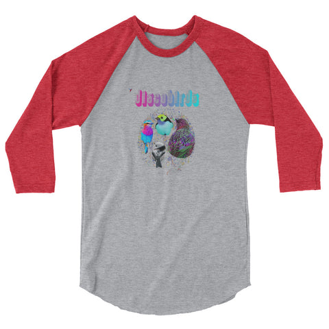 Discobirds 3/4 sleeve raglan shirt