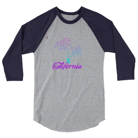 California Palm Tree Neon 3/4 sleeve raglan shirt