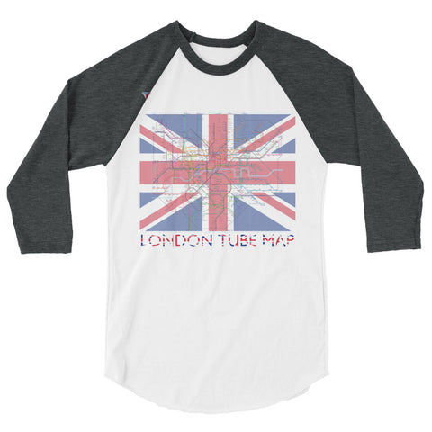 London Metro Map 3/4 sleeve raglan shirt