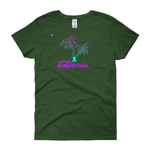 California Palm Tree Neon Women's short sleeve t-shirt