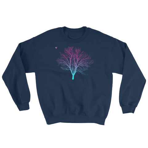 Cyan/Magenta Tree Heavy Blend Crewneck Sweatshirt