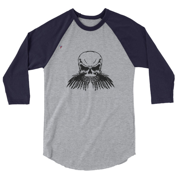 Black Skull 3/4 sleeve raglan shirt
