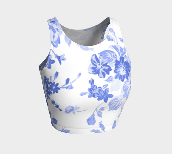 Blue Floral Athletic Crop Top