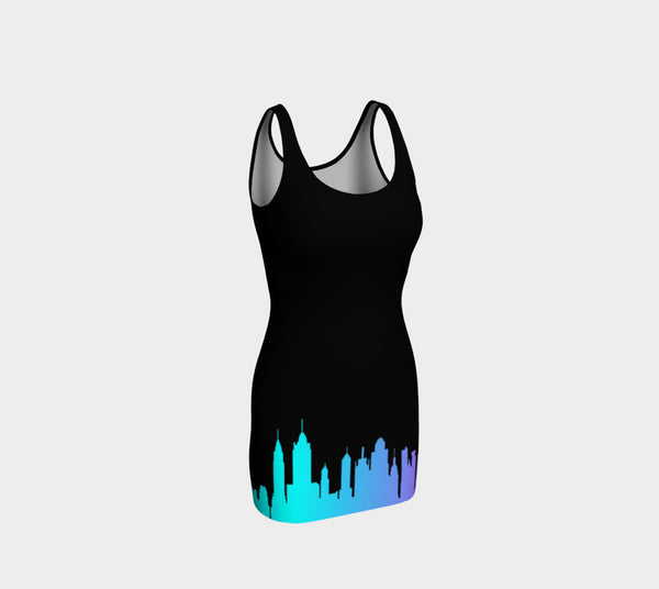 NYC Neon Skyline Bodycon Dress