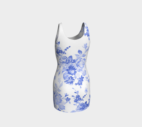 Blue Flowers Bodycon Dress